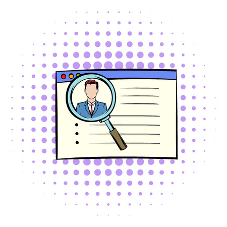 Magnifying glass over curriculum vita icon in comics style on a white background