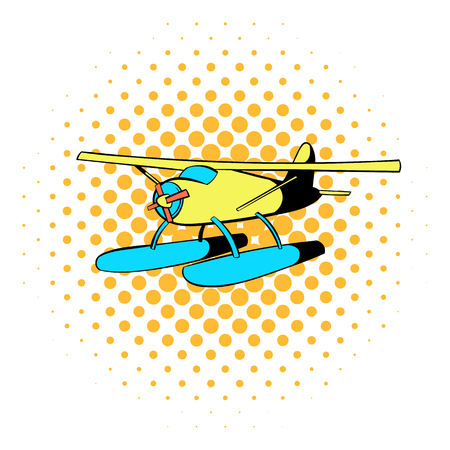 hydroplane: Hydroplane icon in comics style on a white background