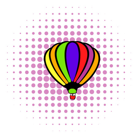 Bright air balloon icon in comics style on a white background