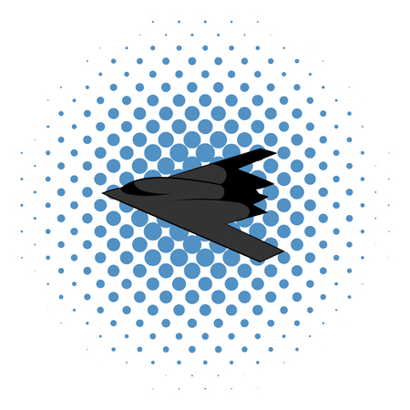 bomber: Stealth bomber icon in comics style on a white background