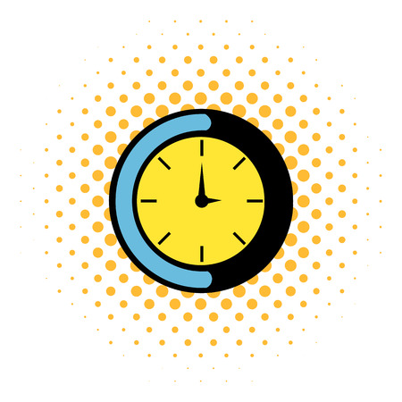 Clock icon in comics style isolated on white background Illustration