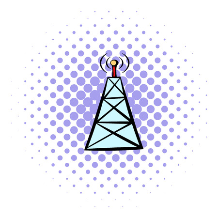 cell phone transmitter tower: Cell phone tower icon in comics style isolated on white background Illustration