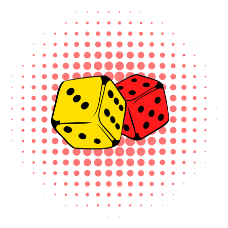 rolling dice: Red and yellow dice icon in comics style on a white background Illustration
