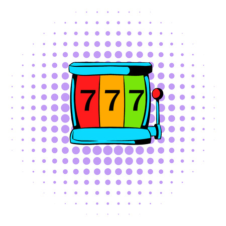 slot in: Slot machine jackpot icon in comics style on a white background Illustration
