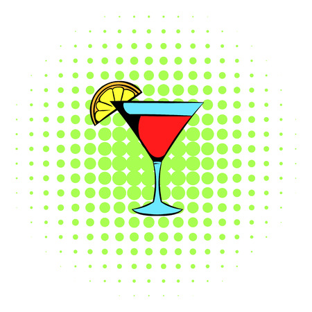 martini glass: Martini glass with red cocktail icon in comics style on a white background