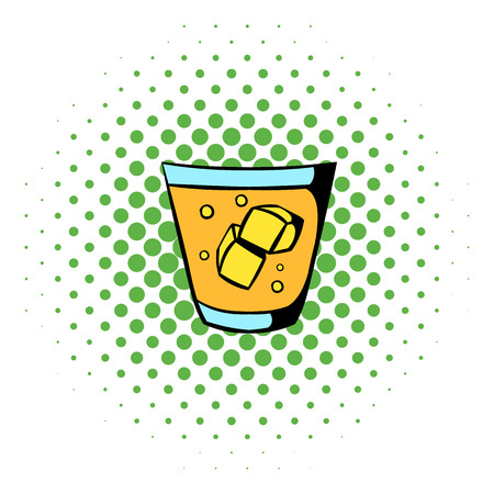 highball: Glass of whiskey and ice icon in comics style on a white background
