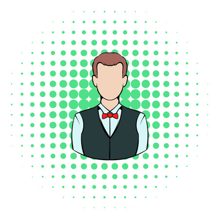 croupier: Croupier icon in comics style on a white background Illustration