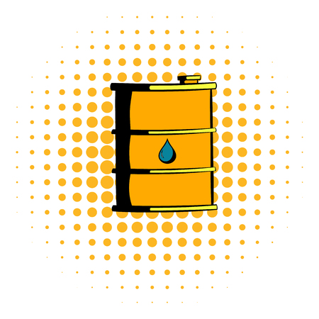 barrel: Oil barrel icon in comics style on a white background