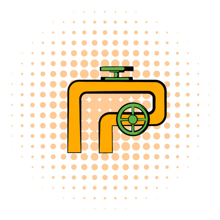 shutoff: Pipeline with valve and handwheel icon in comics style on a white background