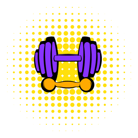 barbell: Barbell and dumbbells icon in comics style on a white background