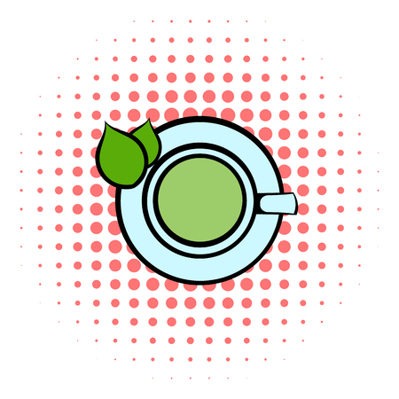 green tea cup: Green tea cup icon in comics style on a white background