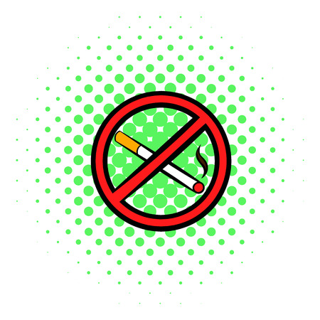 cigar label: No smoking sign icon in comics style on a white background
