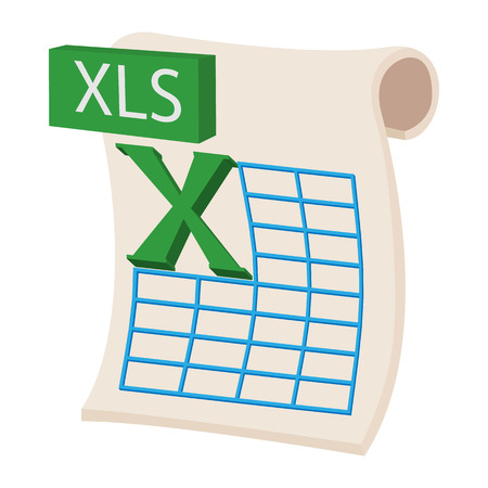 xls: XLS icon in cartoon style on a white background