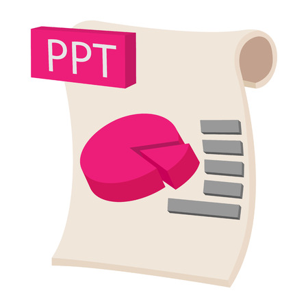 ppt: PPT extension text file icon in cartoon style on a white background