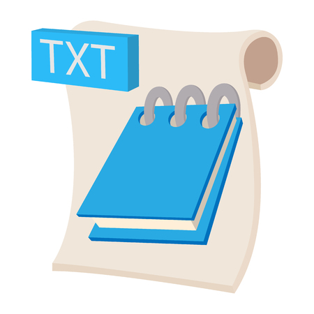 txt: TXT icon in cartoon style on a white background Illustration