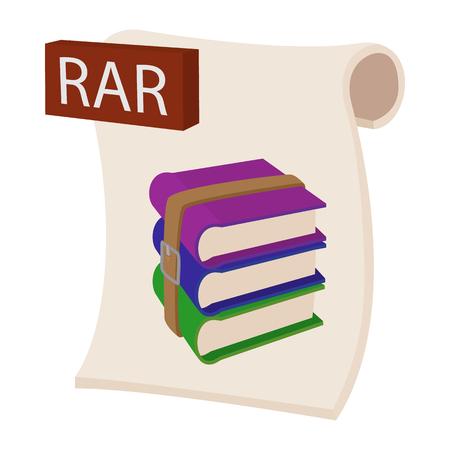 rar: RAR file icon in cartoon style on a white background