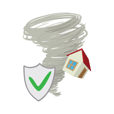 implosion: Property insurance icon in cartoon style on a white background