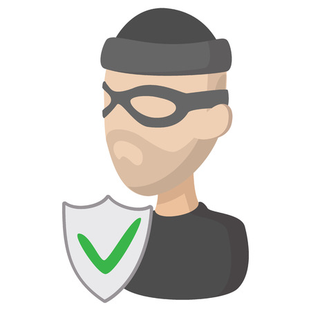 Of crime insurance icon in cartoon style on a white background Illustration