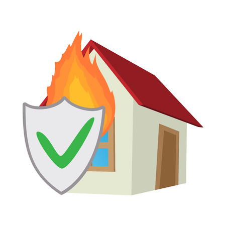 Property insurance icon in cartoon style on a white background