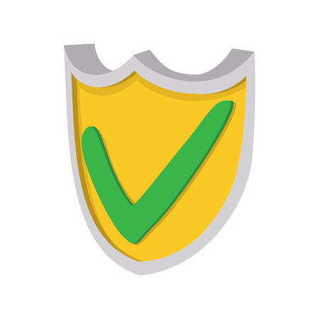 cartoon tick: Yellow shield with green tick icon in cartoon style on a white background