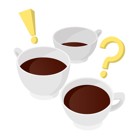 interrogative: A cup of coffee with question and exclamation marks icon in cartoon style on a white background