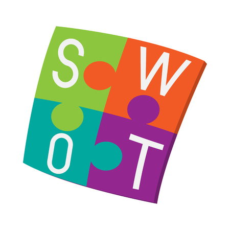 swot: Four pieces colorful SWOT puzzle icon in cartoon style on a white background