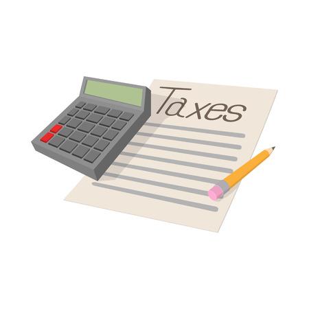 impuestos: Formulario de impuestos y icono de la calculadora en el estilo de dibujos animados sobre un fondo blanco