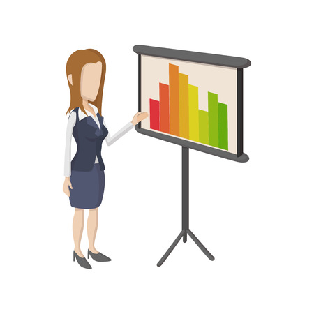 the businesswoman: Businesswoman giving presentation with business graph icon in cartoon style on a white background Illustration