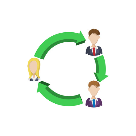 Office team icon in cartoon style on a white background Vectores