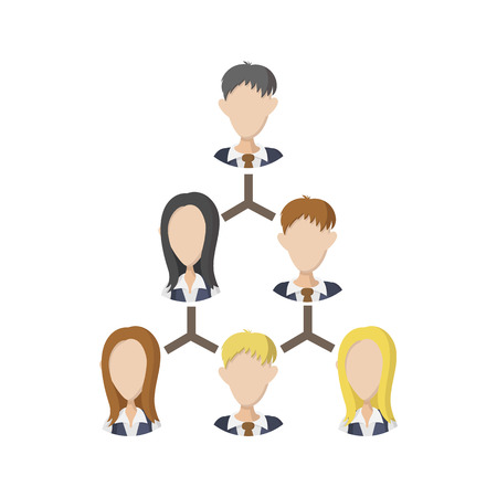 Company structure icon in cartoon style on a white background Stock Illustratie