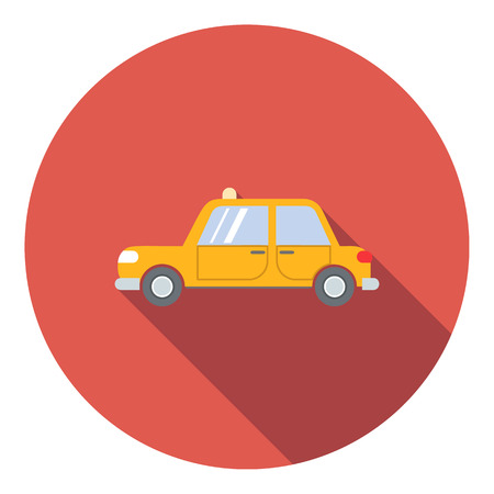 fare: Yellow taxi car icon in flat style in red circle with shadow. Side view