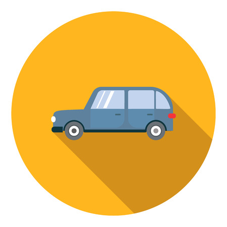 mini van: Blue mini van icon in flat style in yellow circle with shadow. Side view Illustration