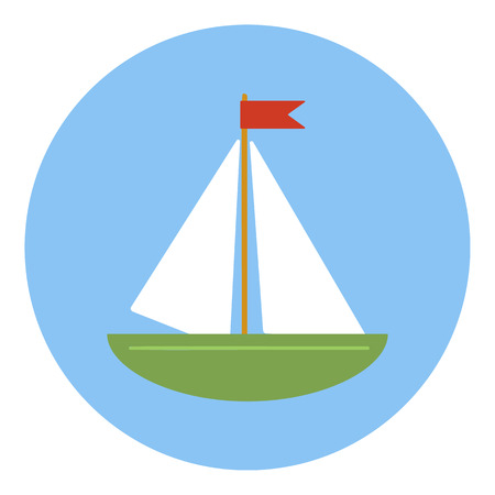 hull: Sailing ship icon in flat style in blue circle with shadow. Side view