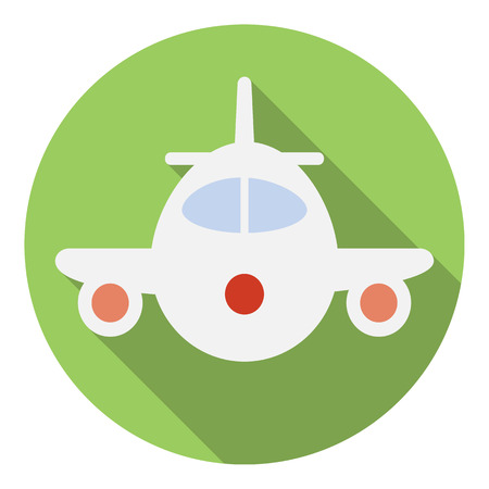 airway: Airplane icon in flat style in green circle with shadow. Front view