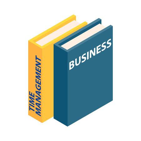 document management: Icono del asunto y los libros de gestión del tiempo en estilo isométrica 3d aislado en el fondo blanco