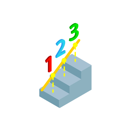 timing the market: Steps to success icon in isometric 3d style isolated on white background. Growth concept Illustration