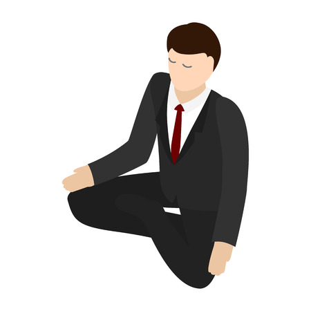 career timing: Businessman meditation icon in isometric 3d style isolated on white background