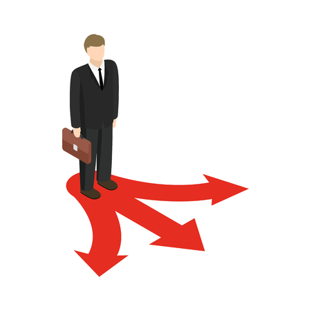 Businessman at crossroad icon in isometric 3d style isolated on white background