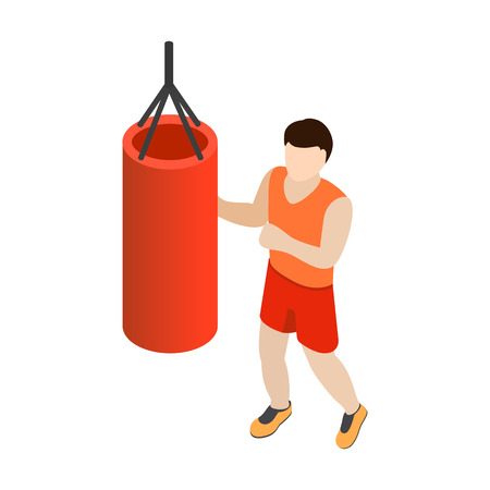 punching: Man training on punching bag icon in isometric 3d style isolated on white background