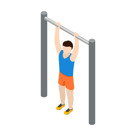 Man doing pull-up icon in isometric 3d style isolated on white background Vectores