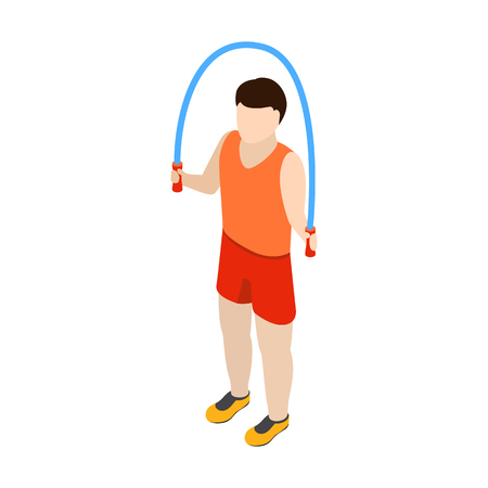 endurance: Man jumping with skipping rope iicon n isometric 3d style isolated on white background Illustration