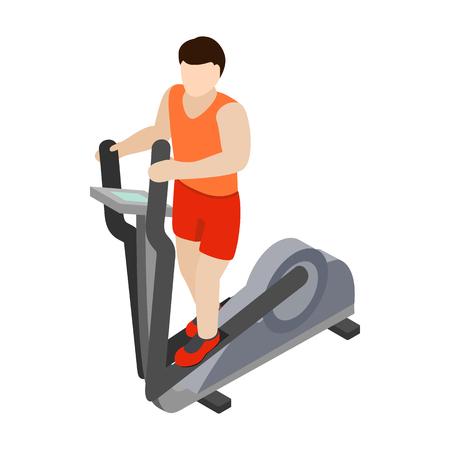 eliptica: Hombre en la el�ptica entrenador icono de caminante en estilo isom�trica 3d aislado en el fondo blanco