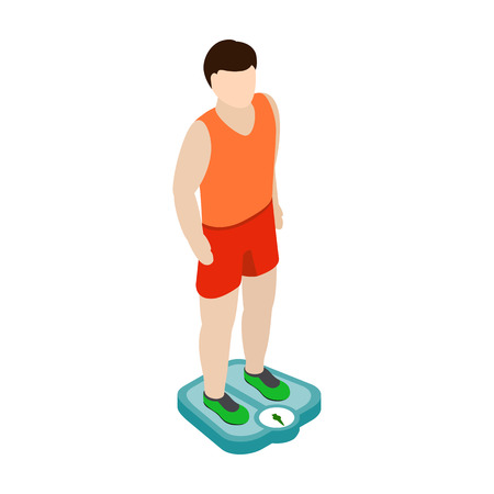 weight reduction plan: Man on the scales icon in isometric 3d style isolated on white background Illustration