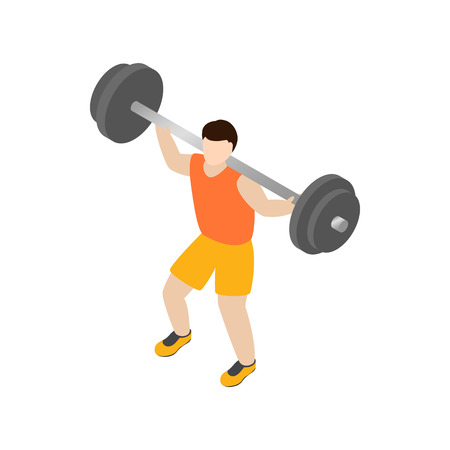 crossbar: Man lifting barbell icon in isometric 3d style isolated on white background Illustration