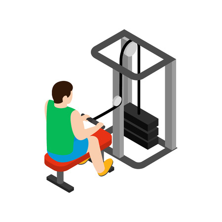 simulator: Man training on simulator icon in isometric 3d style isolated on white background