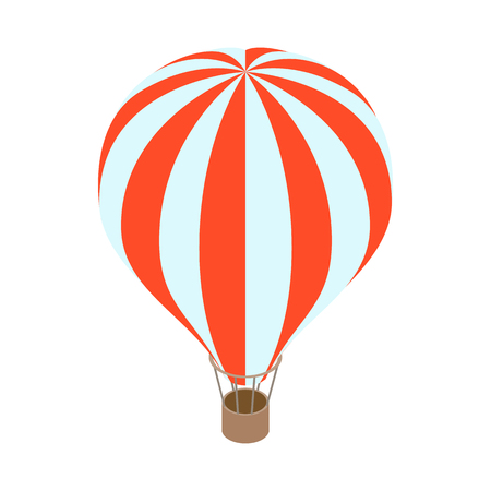 Air balloon icon in isometric 3d style on a white background