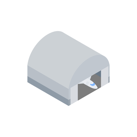 hangar: Hangar building icon in isometric 3d icon on a white background