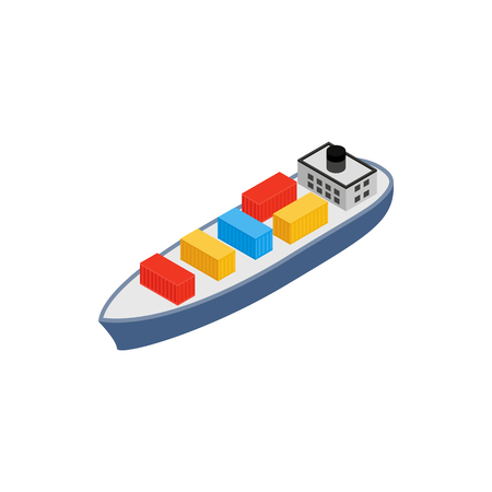 bulk carrier: Cargo ship icon in isometric 3d style on a white background