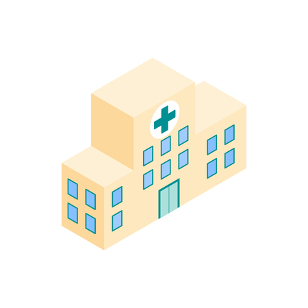 public health services: Hospital building icon in isometric 3d in isometric 3d style on a white background Illustration