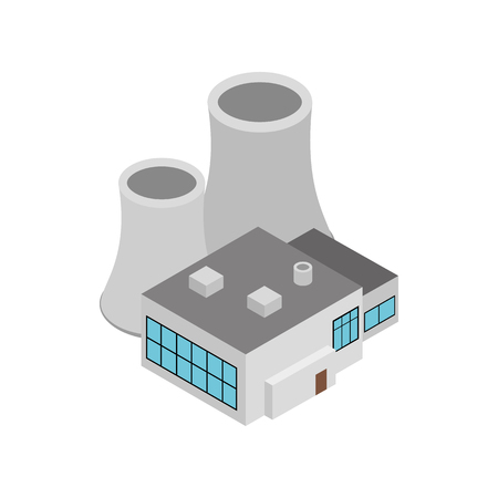 power station: Factory building icon in isometric 3d style on a white background Illustration